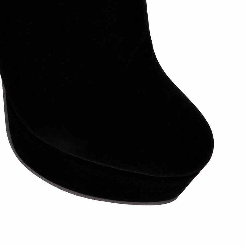 SHININGTHROUGH Seksi Yüksek Topuk Diz Botları Marka 2018 Tasarımcı siyah Kış Çizmeler Yan Fermuar Kadın Ayakkabı