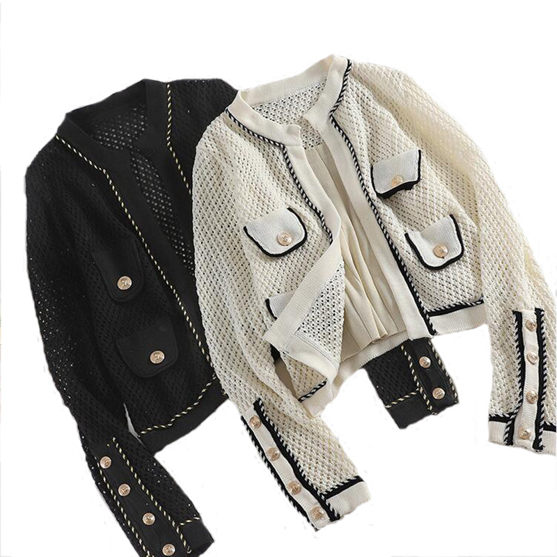 Hollow Out Knitted Women's Summer Jacket Sun Protection Cardigan Lurex Summer Women's Knit Jacket Fashion Patch Designs Coat