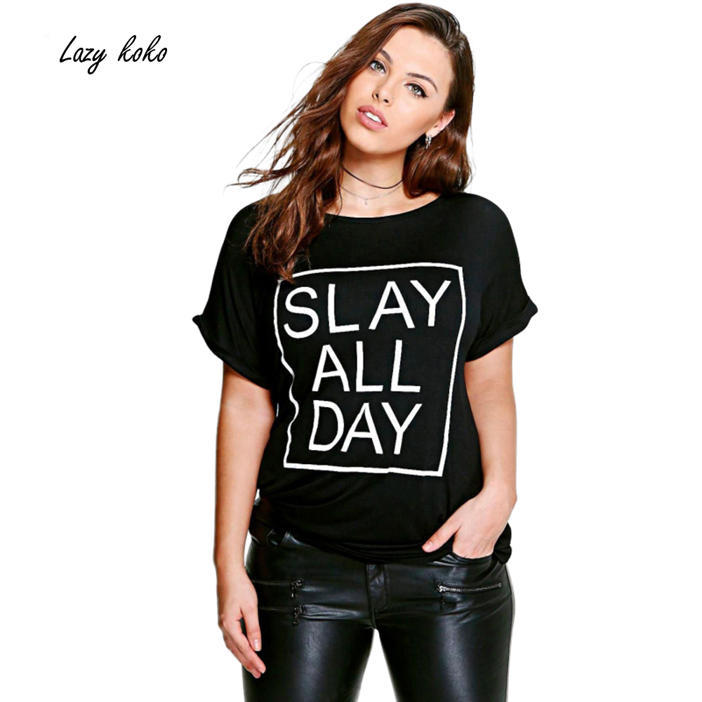 Lazy KoKo Plus Size Fashion Women Clothing Casual Solid Letter Print T shirt Loose Top Tees O ...