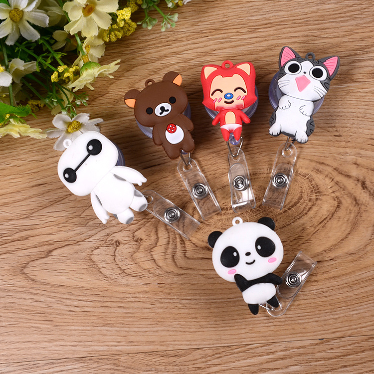 1pcs Cute Panda Retractable Badge Reel Student Nurse Exihibiton ID Name Card Badge Holder Office Supplies