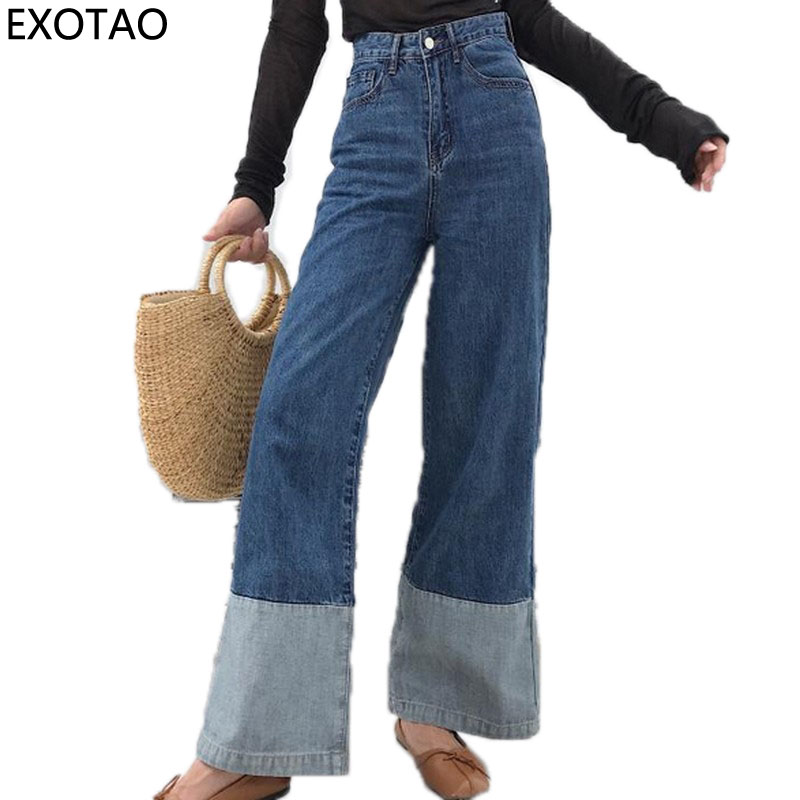 EXOTAO High Wasit Jeans Women Casual Loose Pockets Spliced Denim Trousers Feminina Wide Leg Pants Full Length Jeans Female 2017  women summer loose zipper jeans 2017 high quality denim trousers female new retro slim type denim pants pockets scratched