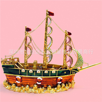 European metal crafts Enamel painting craft gift Large size sailboat,ship,desktop Decoration home ornaments gift(A376)