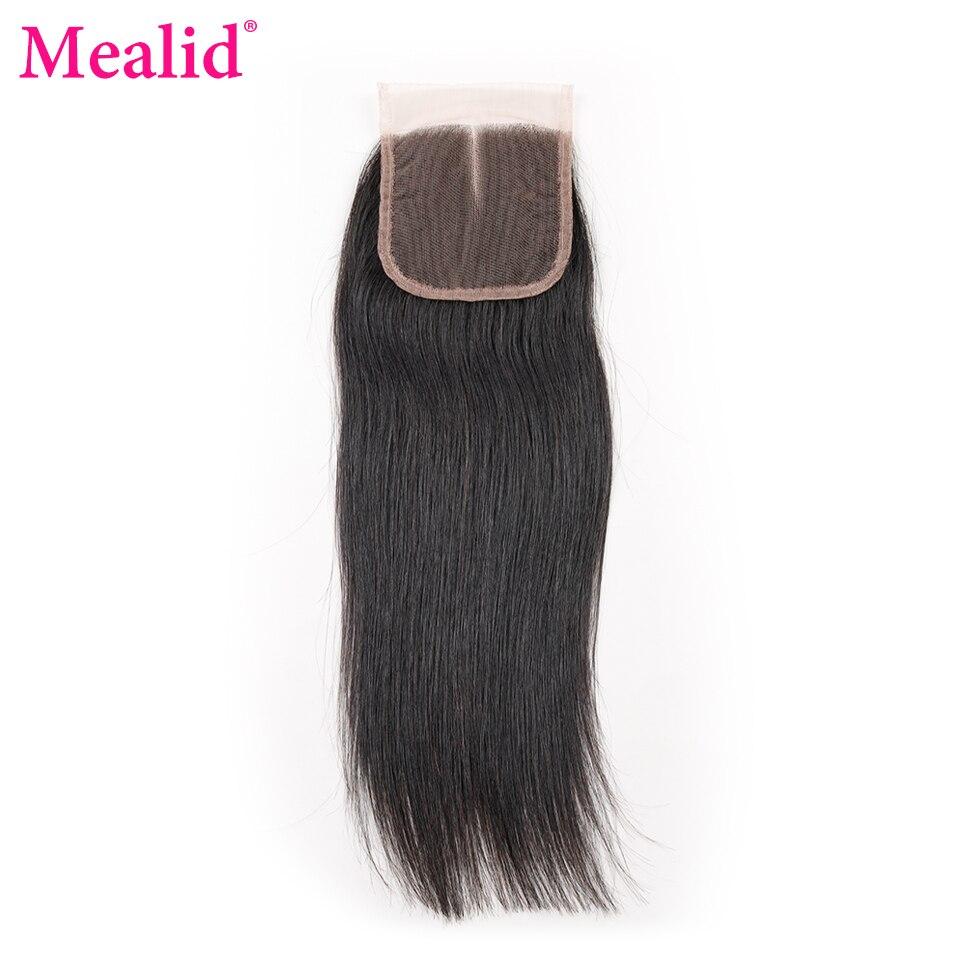[Mealid] Бразильский прямые волосы застежка цельнокроеное платье только не-Реми природных Цвет 8 -20 человеческих волос Кружева Закрытие