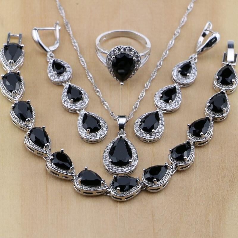 925 Sterling Silver Jewelry Black CZ White Zircon Jewelry Sets For Women Long Earrings/Pendant/Necklace/Rings/Bracelet viennois new blue crystal fashion rhinestone pendant earrings ring bracelet and long necklace sets for women jewelry sets