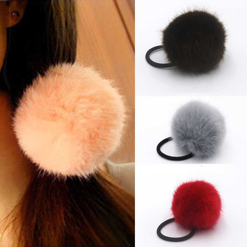 1Pcs Hair Bands Rabbit Fur Ball Hair Accessories for Girls Elastic Rubber Bands Hair Ropes Scrunchie Braiding Styling Tools
