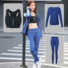 3 In 1 Set Top Quality Fitness Women Yoga Sport Black Zipper Bra Pants Zipper Hoodies