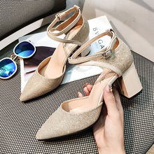 Liren 2019 New Fashion Women Elegant Sandals Comfortable Cross-tie Buckle Lady Pointed Wrapped Toe Square High Heels