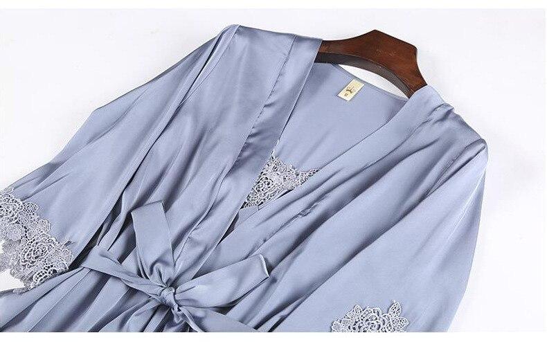 seda pijamas com almofada no peito camisola
