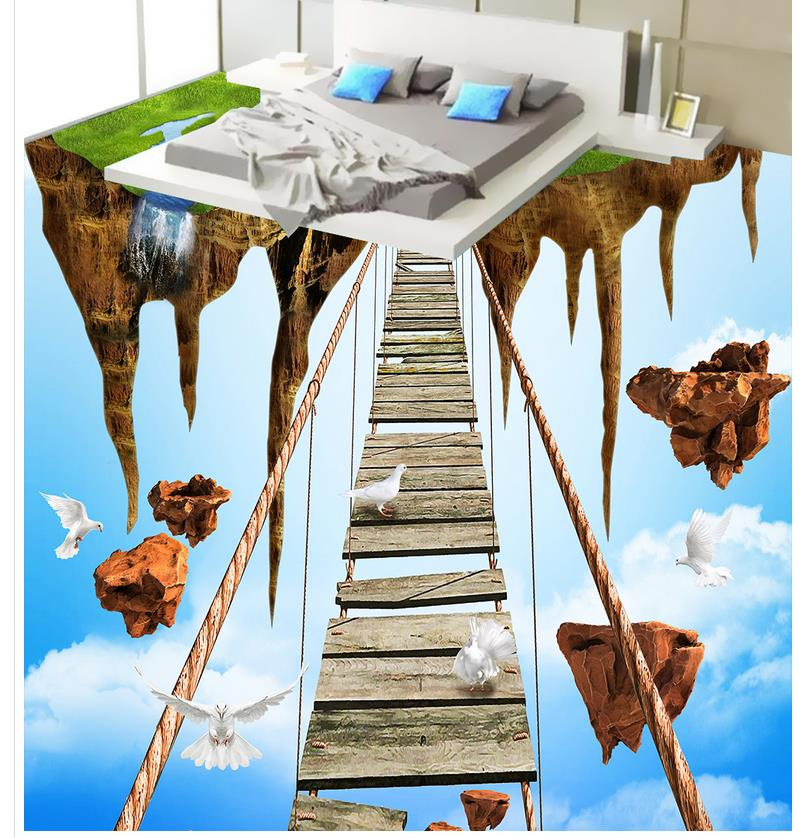 Photo wallpaper mural floor sky 3d wallpaper 3d floor for 3d wallpaper waterproof