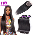 7A Brazilian Virgin Hair With Closure Remy Straight Human Hair With Closure Brazilian Straight Hair 3 Bundles With Closure 4X4