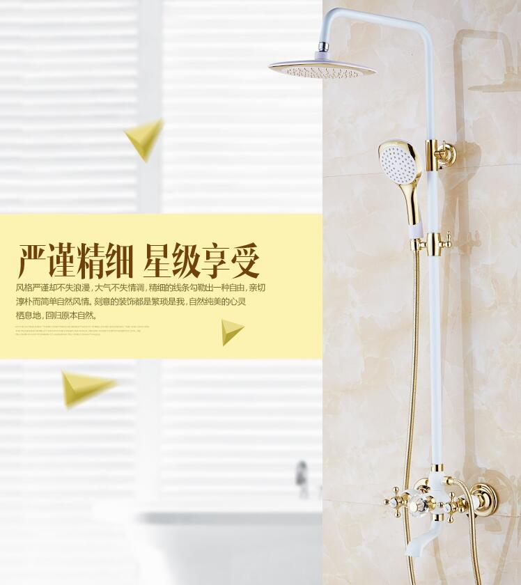 Free Shipping Europe Style Rainfall Shower Faucet Set Wall Mounted Bathroom Gold And White Finished Mixer