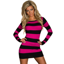 Women Clothing Winter Dress Free Shipping Cheap Tunic with Rose Pink and Black Accent Sexy Mini dress