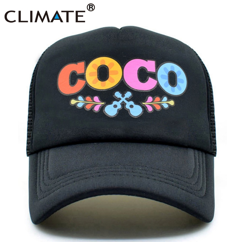1c058123156b1 CLIMATE Men Women Summer Trucker Cap Moive COCO Mesh Caps Remember Me  Guitar Mexico Mexican Day of the Dead Cool Net Caps Hat
