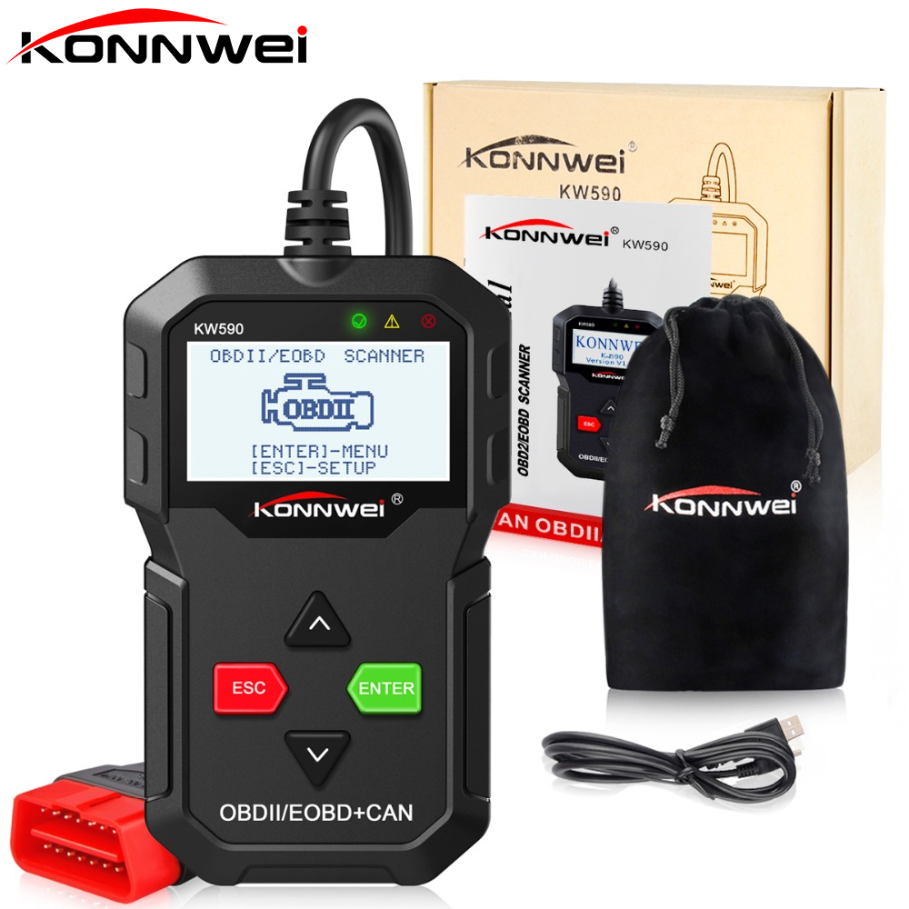 Best ODB OBD2 Scanner KONNWEI KW590 OBD2 Car Diagnostic Scanner Multi-language KW590 Code Reader OBDII Russian Better Than AD310 2016 new arrival vs 890 obd2 car scanner scantool obdii code reader tester diagnostic tools 3 inch lcd car detector