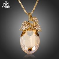 AZORA Pear Cut 18K Real Gold Plated Stellux Austrian Crystal Leaves Pendant Necklace TN0136