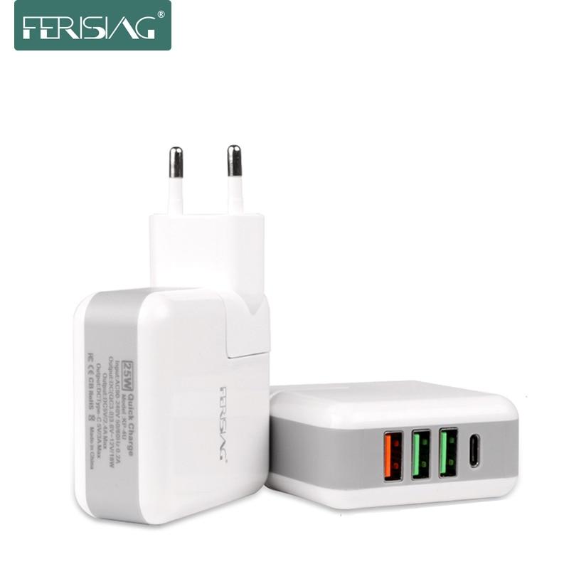 FERISING 5 Вт быстрое зарядное устройство QC3.0 Быстрая зарядка 3,0 USB дорожное настенное зарядное устройство адаптер портативное зарядное устройство с вилкой европейского стандарта с разъемом типа C домашнее зарядное устройство
