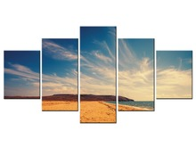 5 Panel Wall Art Pictures HD Prints Canvas Waves On Beach At Sunset Paintings Seascape Posters Home Decor Framed J009-052