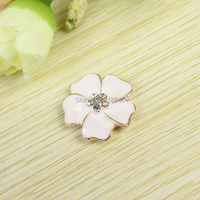 10pcs Gold Tone Plated White Oil Drop Flower Patches Metal Rhinestones Alloy Jewelry Flowers Diy Phone Case Decoation Materials