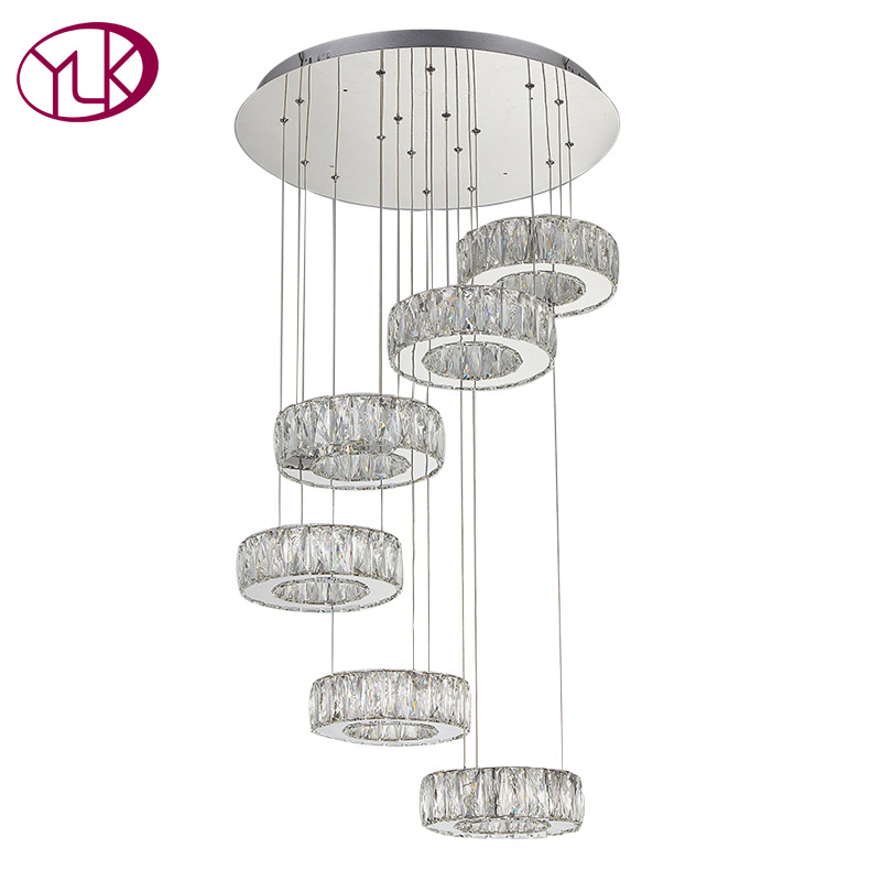 Round Modern Crystal LED Chandelier For Living Room Dia60*H180cm Spiral Design Stair Crystal Lamps Brief Lustres De Cristal new modern chandelier led crystal lamps long pendant chandelier lustres de cristal kronleuchter ac110 240v stair chandelier