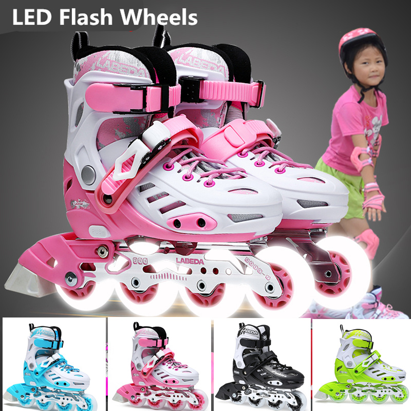 LED Flash Wheel Kids Inline Skates Children Inline Skate Shoes with LED Shine Skating Changeable Size Adjustable Girl Boy Sports 2017 heelys boy roller skate sneakers kids shoes with wheel shoe negro zapatillas con ruedas black chaussure led size 16 8 23cm