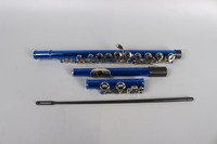 Black & Blue 16 Holes Flute E Key Nickel Plated Concert Open Flute with Cleaning Cloth Stick Gloves Screwdriver Padded Bag #1501