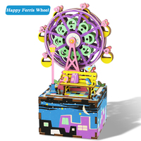 DIY Doll House 3D Puzzle With Rotatable Music Box Wooden Dollhouse Model Birthday Gift Toys For Children Ferris Wheel AM402 #E