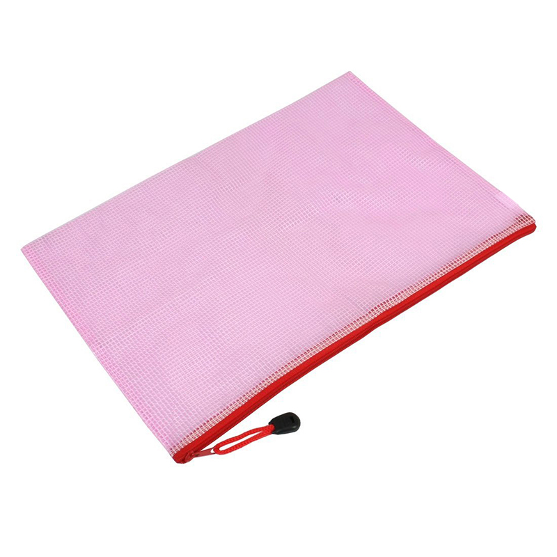Red Grid Zipper 13.4 Inchx 9.2 Inch A4 Files Documents Holder Bag