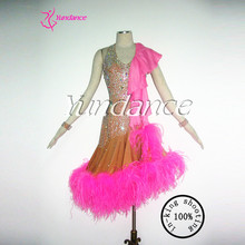 Ostrich feather latin dance dresses performance women L-11115
