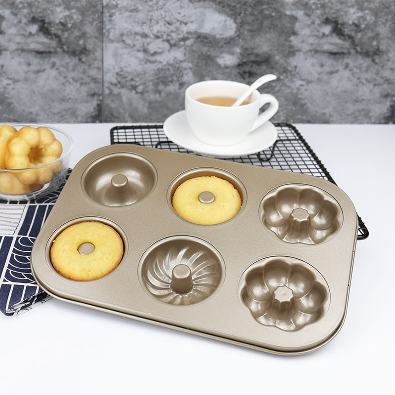 Metal Carbon Steel 6-flowered Doughnut Mold Household Round Hollow Baking Cake Mold Bread Baking Tray Baking Tool Biscuit Mold