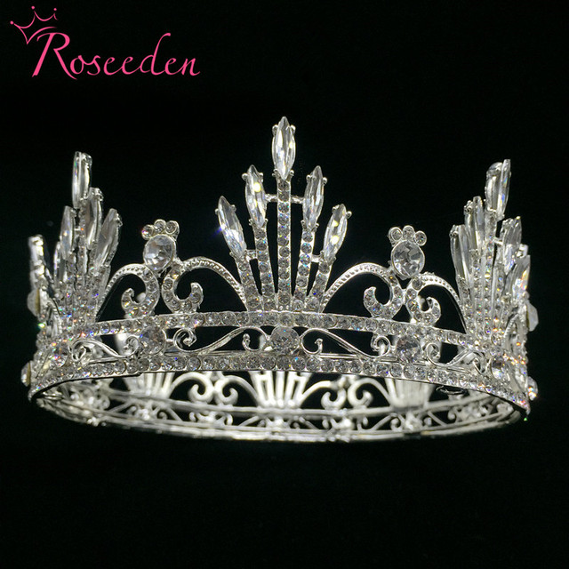royal hair crown tiara veil crowns for wedding prom parties luxury baroque silver plated queen crown