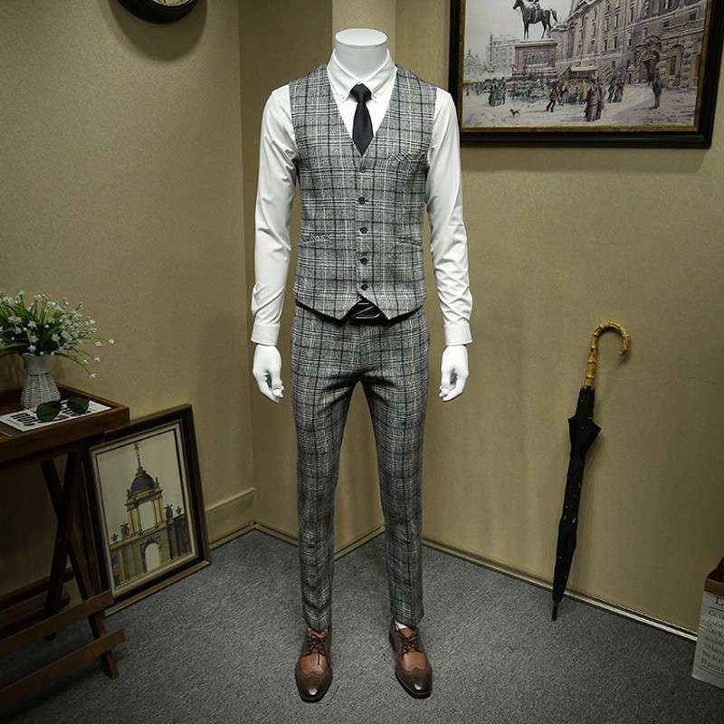Anzüge Hosen 3 Stücke Kostüm Grau Bräutigam Jacke Weste Hochzeit Woolen Set Anzug Homme Männer Formale Blazer Büro Plaid Wolle Britischen vIgb6yf7Y