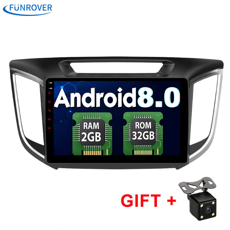 Funrover 2 din Android8.0 Car Radio dvd Player 10.1 for HYUNDAI IX25 CRETA 2014 2015 2016 Support 4G DVR auto multimedia Stereo
