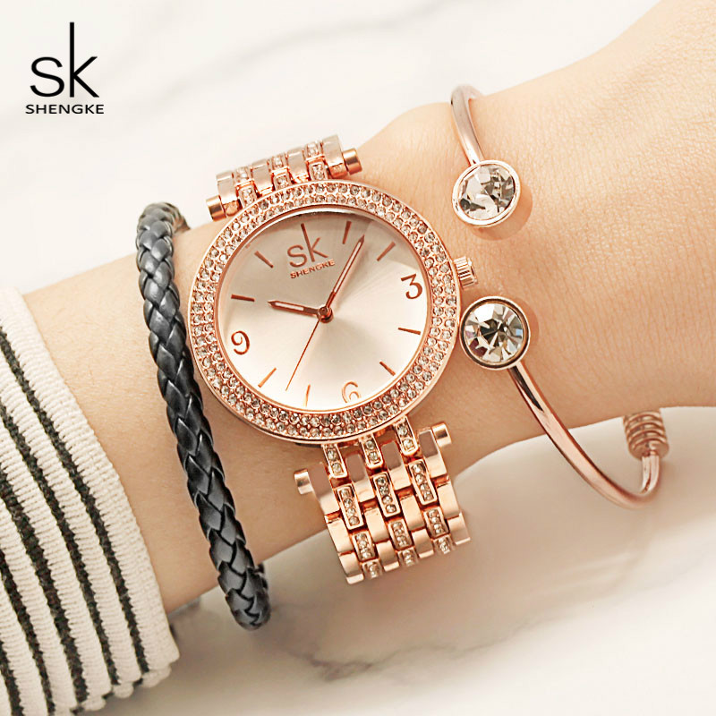 Shengke Luxury Quartz Watch Women Crystal Diamond Bracelet Watches Relogio Masculino 2018 SK Female Gifts Watch with Bracelets wecin f5049 female quartz watch with diamond decoration golden watch case