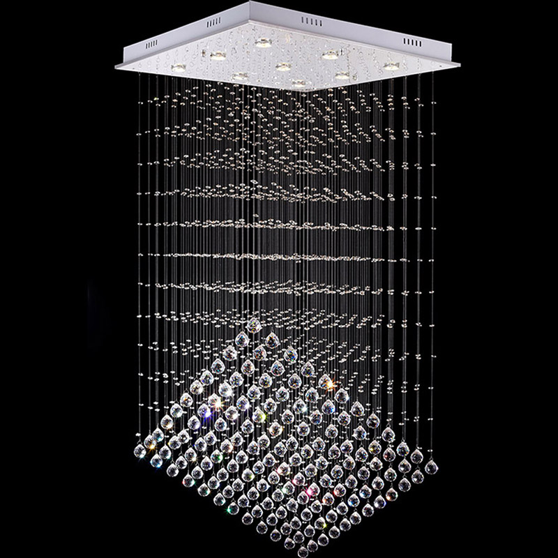 LED Square Pendant Light Lamps Modern K9 Crystal Hanging Lamp Fixture For Villa Hotel Cafe AC110 To 240V VALLKIN Lighting zg9048 pendant light ac 110 240v