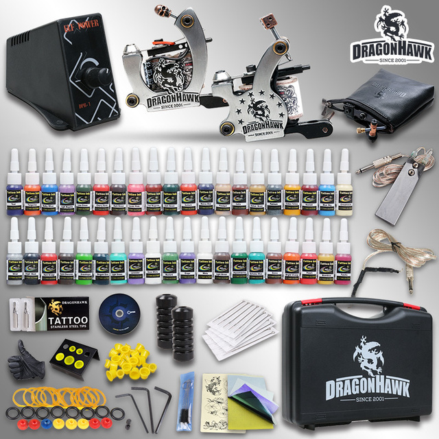 Complete Tattoo Kit 2 Top Machine Gun 40 Color Ink TOP Power Supply Needle with case HW-8GD-2