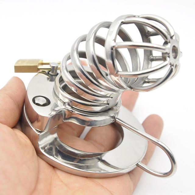 40/45/50mm anel pênis caralho gaiola de aço inoxidável masculino castidade dispositivo de Metal Respirável brinquedos eróticos para homens chastity gaiola