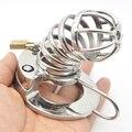 40/45/50mm anillo del pene masculino dispositivo de castidad de Metal de acero inoxidable Transpirable cock jaula juguetes eróticos para hombres castidad jaula