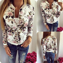 Women Caots Jacket 2018 New Women Jacket Brand Tops Flower Print Girl Plus Size Casual baseball Sweatshirt  Long Sleeves
