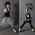 2016 Primavera Otoño Niños Niñas Cebra de La Manera Raya Pinta de Manga Larga Sport Suit 2 Unids Niños Que Arropan el sistema Ocasional Twinset
