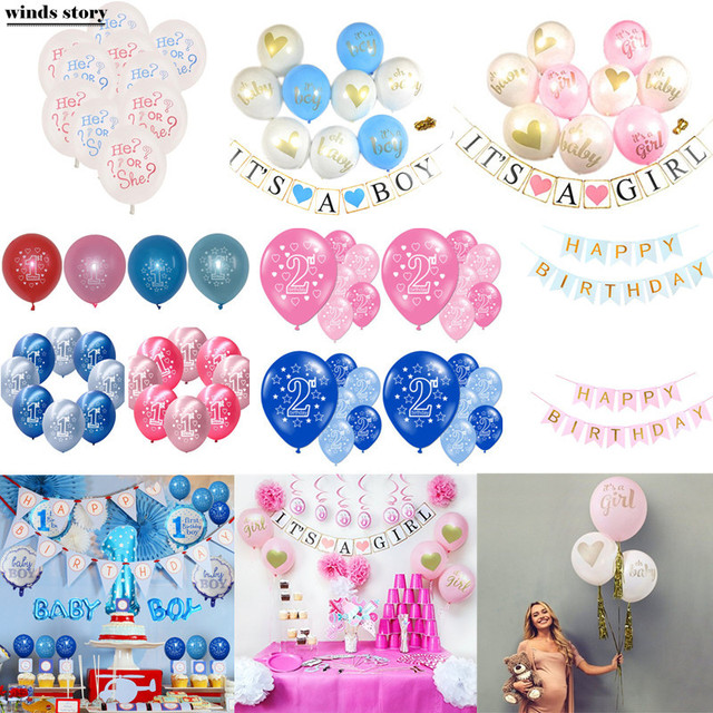 20438ba79 10pc 12inch Latex Balloon Ball Baby Shower Decoration Its A Boy Girl Latex  Printed Balloons Infant Kid Birthday Party Supplies