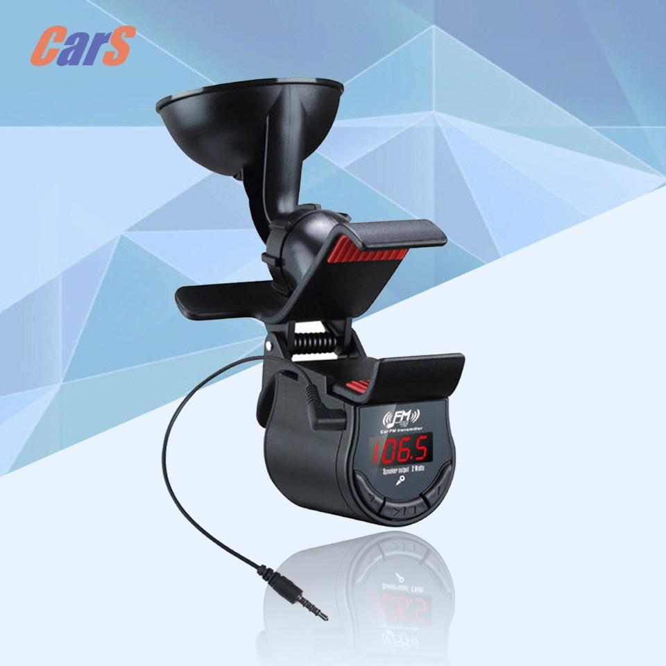 LED Car FM Transmitter Modulator Speaker Handsfree Car Kit Phone GPS Mount Holder 360 Degrees Rotatable car-styling