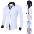 1Pc Men's Long-Sleeved Leisure Business Shirts Regular Fit Business Casual Shirt Work Wear 5 Color Size M-XXL
