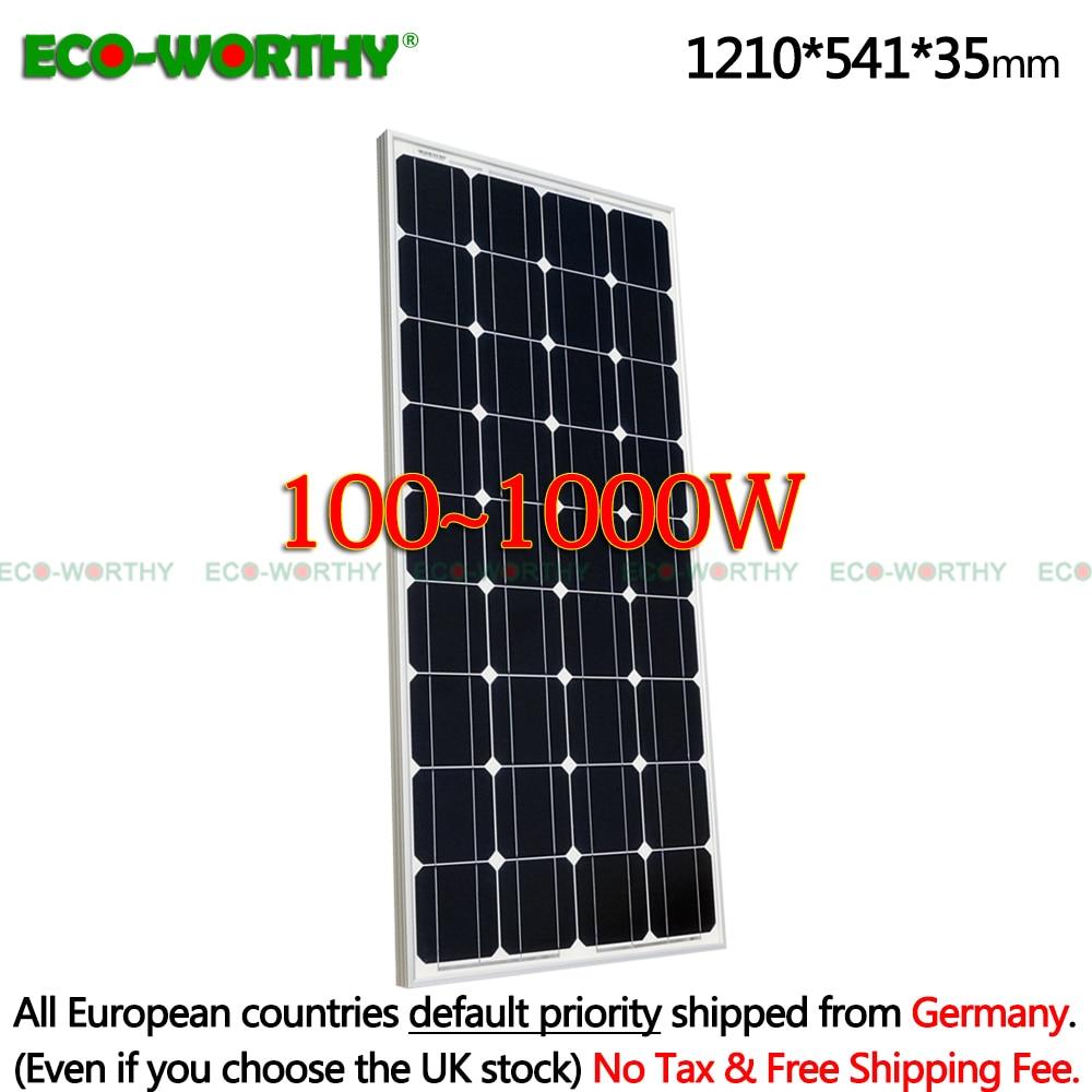 1 2 3 4 6 8 10pcs 100w Solar Panels 12v monocrystalline Solar Panels for 12v