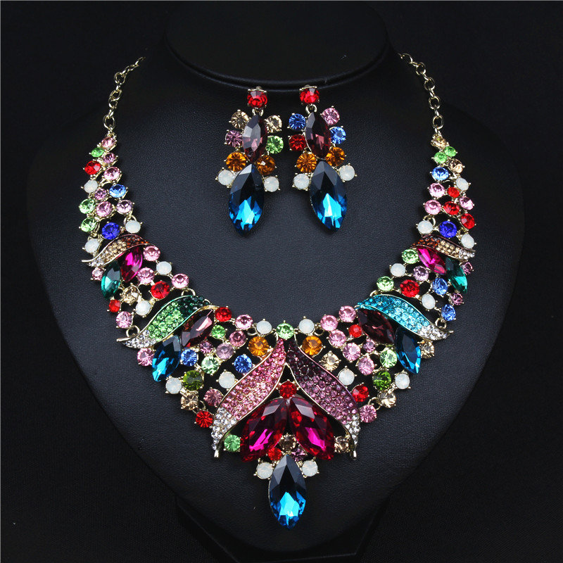 ASNORA Evening Jewelry Set for Women Necklace and Earrings Bridal Jewelry Sets Shiny Color Crystals Necklace a suit of chic blossom necklace and earrings jewelry for women