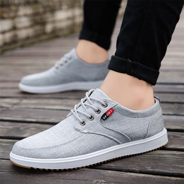 Breathable Men Casual Shoes Canvas White Shoes Men Lace Up Casual Canvas Lightweight Sneakers Men Walking Shoes Chaussure Homme
