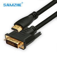 SAMZHE HDMI To DVI 24 1 Pin Adapter Gold Plated Cable 2m 3m 5m Male To