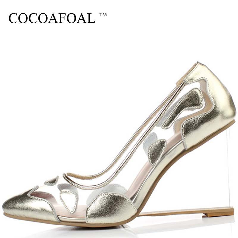 COCOAFOAL Woman Gold Clear Heels Shoes Fashion Sexy Silver Transparent  Heels Shoes Plus Size 33 - 42 Red Ball Wedding Pumps 2018 ae8c5670549a