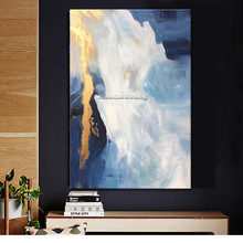 Gold blue Canvas Seascape Acrylic Nordic Style Home Wall Art