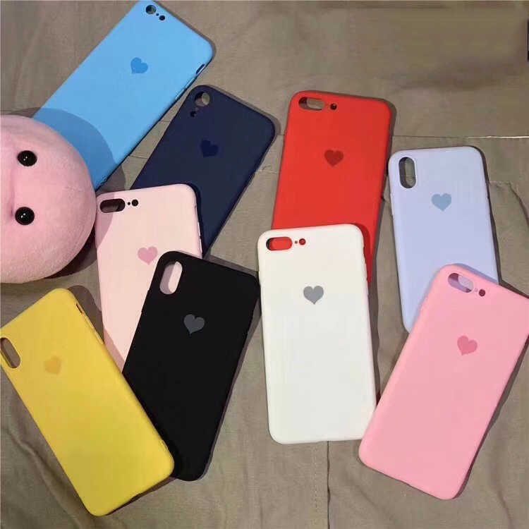 Soft TPU Matte Candy Heart Love phone Case for Apple iphone 7 8 6 6s Plus XS MAX XR Ten X 10 Silicone cover Original