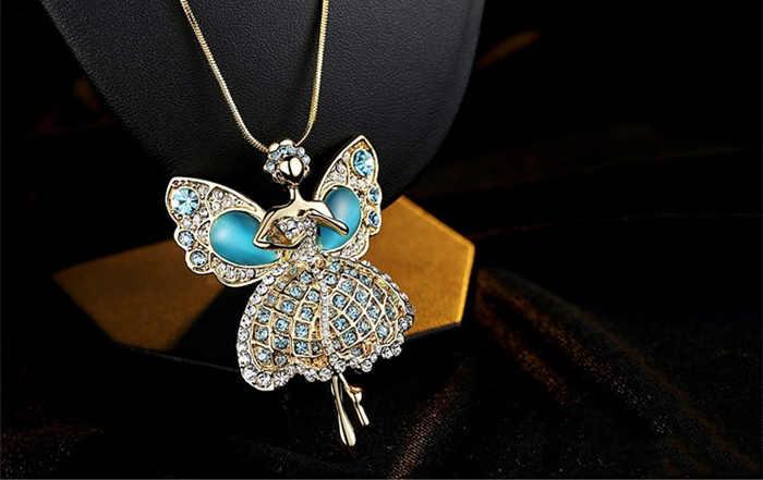 2015 Осень и зима новый свитер ожерелье Золотой Цвет Бабочка с австрийскими кристаллами Фея Длинный Свитер Цепочка Ожерелье для женщин ZN029